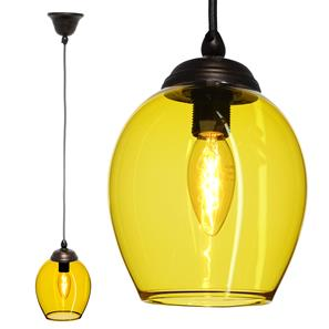 Polla Glass Pendant  40W Yellow / Antique Bronze