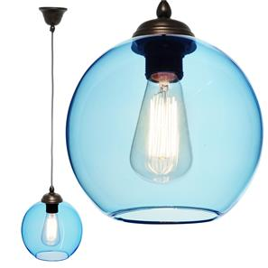 Modica Glass Pendant  60W Baby Blue / Antique Bronze