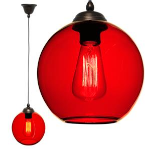 Modica Glass Pendant  60W Rouge Red / Antique Bronze