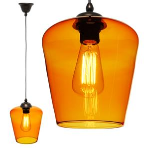 Sorento Glass Pendant  60W Orange / Antique Bronze