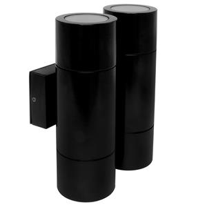 Smooth Double Pillar Black 4 x 35W