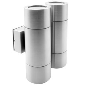 Smooth Double Pillar Up & Down Light 240V Marine 316 Stainless Steel 4 x 35W