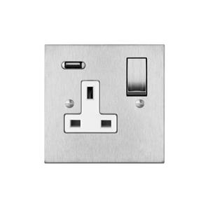 Switched Socket Outlet with USB Charger 1 gang 13 amp Satin Stainless Steel