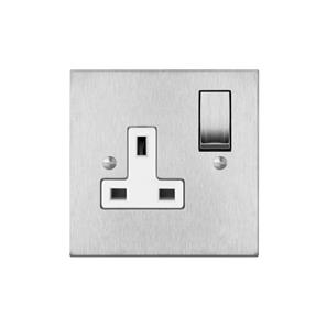 Switched Socket Outlet 1 gang 13 amp Satin Stainless Steel