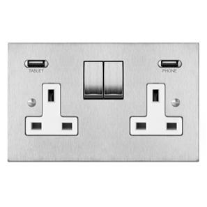 Wall Socket Switch with USB Chargers 2 gang 13 amp double socket outlet with USB Satin Stainless Steel