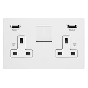 Switched Socket Outlet with USB Chargers 2 gang 13 amp Primed White