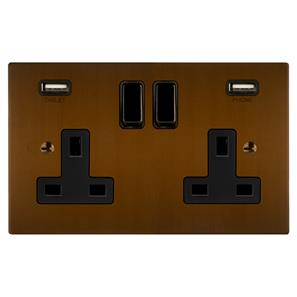 Horizon Switched Socket Outlet with USB Chargers 2 gang 13 amp Antique Bronze