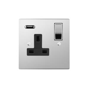 Switched Socket Outlet with USB Charger 1 gang 13 amp Polished Stainless Steel