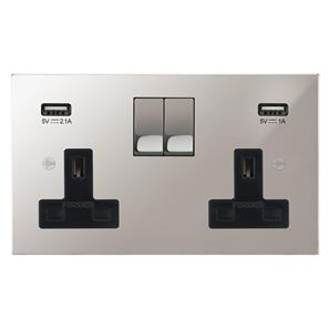 Horizon Switched Socket Outlet with USB Chargers 2 gang 13 amp Polished Stainless Steel