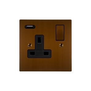 Horizon Switched Socket Outlet with USB Charger 1 gang 13 amp Antique Bronze