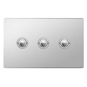 Push Button Switch 3 gang Polished Stainless Steel
