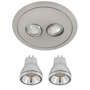 Compasso Downlight Double LED  Nickel 3000K Warm White