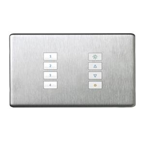 SceneStyLED4 Kit Brushed Stainless Steel Plate White Buttons