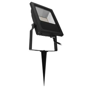LED Black Floodlight Spike 240V 20W (=200W)  3000K Warm White
