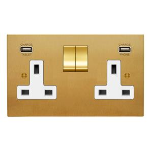 Switched Socket Outlet with USB Chargers 2 gang 13 amp switch socket outlet Satin Brass