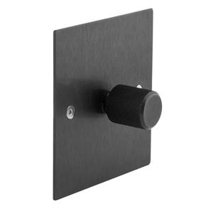 Retro Dimmer Switch Aluminium Black