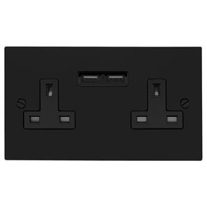 Socket Outlet with USB Chargers 2 gang 13 amp Black