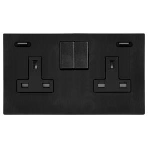 Switched Socket Outlet with USB Chargers 2 gang 13 amp Black Aluminium
