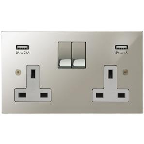 Switched Socket Outlet with USB Chargers 2 gang 13 amp switched socket outlet Polished Nickel