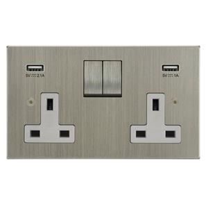 Switched Socket Outlet with USB Chargers 2 gang 13 amp switched socket outlet Satin Nickel