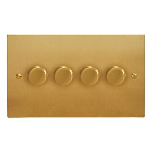Dimmer Switch V-PRO Trailing Edge  LED 4 gang 120 watt 2 way Satin Brass