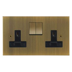 Horizon Switch Socket Outlet 2 gang 13 amp Antique Brass