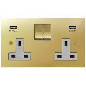 Wall Socket with USB Chargers 2 gang 13 amp switch socket outlet Polished Brass