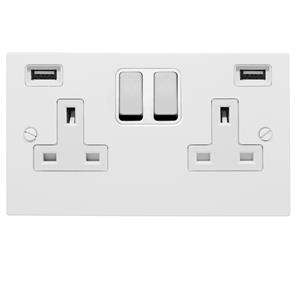 2 Gang Wall Socket / USB Charger 13 amp switched socket + USB outlet Satin White Aluminium