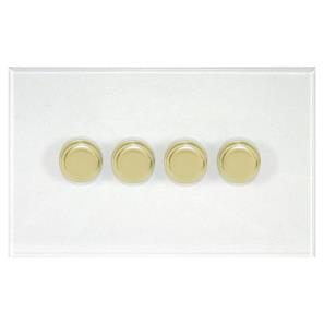 Dimmer Switch V-PRO Trailing Edge LED 4 gang 400 watt 2 way Polished Brass / Clear Perspex