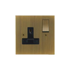 Horizon Switch Socket Outlet 1 gang 13 amp Antique Brass
