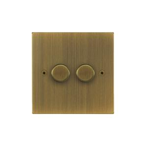 Horizon Dimmer Switch LED 2 gang 120 watt 2 way Antique Brass