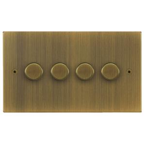 Horizon Dimmer Switch LED 4 gang 120 watt 2 way Antique Brass