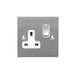 Wall Socket 1 gang 13 amp switch socket outlet Satin Stainless