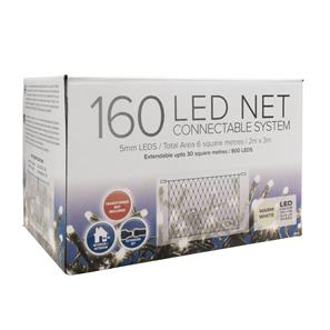 LED  Net, 160 Lights, Indoor, 240V 3000K Warm White Green Cable