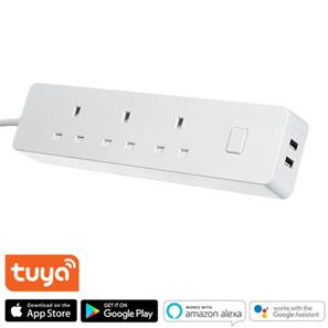 Timeguard Smart 3 Way Power Strip with USB Ports White 13A