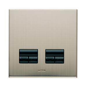 Rania Slave 2 Gang Dimmer Satin Nickel 2x250W