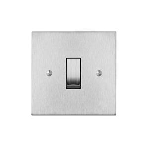 Rocker Switch 1 gang 20 amp double pole Satin Stainless Steel
