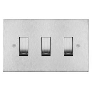 Rocker Switch 3 gang 20 amp 2 way Satin Stainless Steel