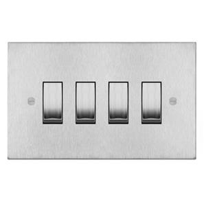 Rocker Switch 4 gang 20 amp 2 way Satin Stainless Steel
