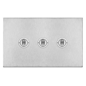 Dolly Switch 3 gang 20 amp 2 way Satin Stainless Steel