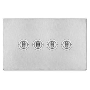 Dolly Switch 4 gang 20 amp 2 way Satin Stainless Steel