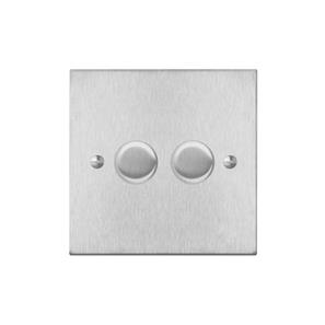 Dimmer Switch 2 gang 400 watt 2 way Satin Stainless Steel