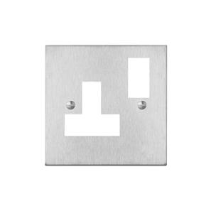Switched Socket Outlet 1 gang 13 amp (plate only) Satin Stainless Steel
