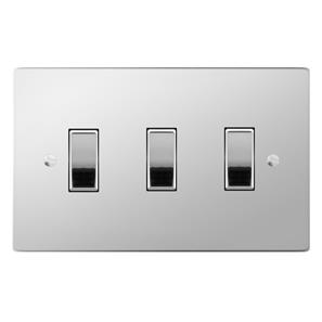Rocker Switch 3 gang 20 amp 2 way Polished Stainless Steel