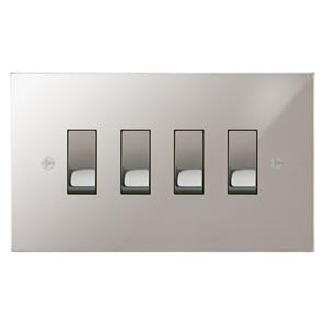 Rocker Switch 4 gang 20 amp 2 way Polished Stainless Steel