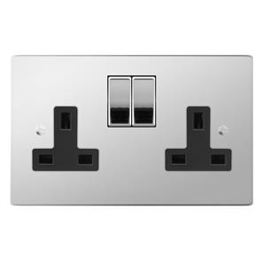 Switched Socket Outlet 2 gang 13 amp Polished Stainless Steel