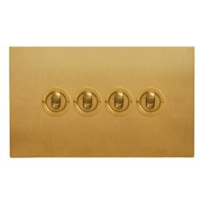 Dolly Switch 4 gang 20 amp 2 way Satin Brass