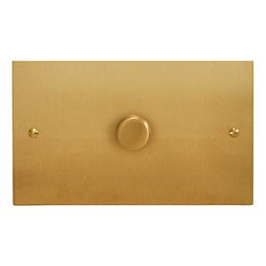 Dimmer Switch 1 gang 400 watt double plate Satin Brass
