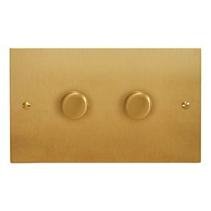 Dimmer Switch 2 gang 400 watt double plate Satin Brass