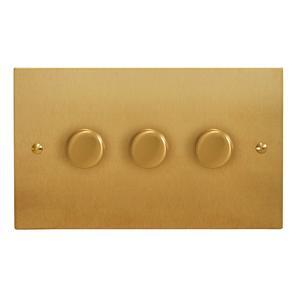 Dimmer Switch 3 gang 400 watt 2 way Satin Brass